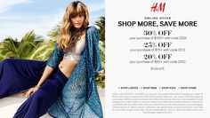 Pinned June 4th: 20% off $50 & more online at H&#M via promo code 2002 #coupon via The #Coupons App