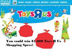 Enter the Ryan Seacrest Toy R Us Sweepstakes and win $1,000 Toys R Us Shopping Spree! The Countdown to Christmas has started, whether you love it or not!!!