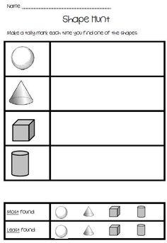 3-D Shape Hunt product from KookyKindergarten on TeachersNotebook.com