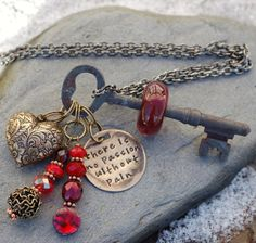 Skeleton Key Necklace Boro Lampwork Glass Beaded Red by Venbead