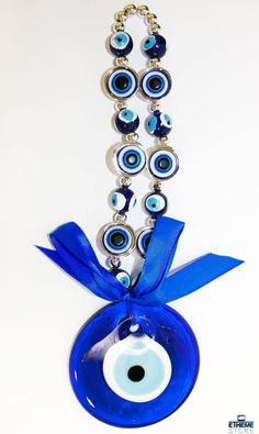 BIG EVIL EYE WITH BEADS WALL HANGING GREEK GLASS EVIL EYE CHARM AMULET HOME in Collectables, Other Collectables | eBay