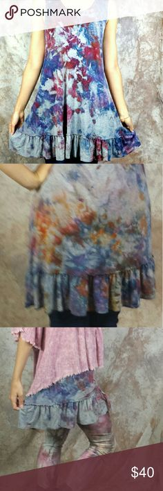 "Ice dyed ruffle hem tunic dress Nwot Heather gray artwear dress - this is a really fun layering tunic that I bot wholesale and had to keep one of course. I hand dyed it to be more artsy. Goes great with the abree tops. The retail price is for the plain version but now it's a one of a kind item! Bust: 32"" waist:38"" Hips:46"" Length: 28-29 95% rayon 5% spandex Tops Tunics"