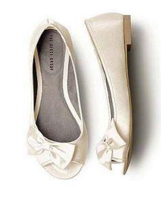 Satin Peep Toe Bridal Flats