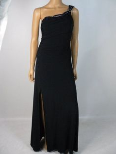 Hailey Logan by Adrianna Papell Black Beaded Matte Jersey Gown