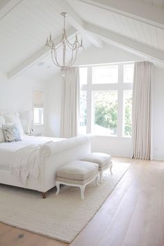 New 2017 Interior Design Tips & Ideas - All White Bedroom. All White Bedroom Paint Color. All White Bedroom Painted in Benjamin Moore Simply - Vaulted Ceiling Bedroom, Ceiling Chandelier, Vaulted Ceilings, Cathedral Ceiling Bedroom, Painted Ceiling Beams, Master Bedroom Chandelier, Bedroom Chandeliers, Shiplap Ceiling, Bedroom Lighting