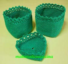 m@tematicaecucina: Cestini Lavorati ad Uncinetto Crochet Purses, Baby Shoes, Miniatures, Kids, Blog, Hobby, Baskets, Home, Hardanger
