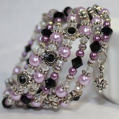Memory Wire Beaded Bracelet Wrist Wrap Glass Beads and Glass Pearls Purple and Black Womens Jewelry