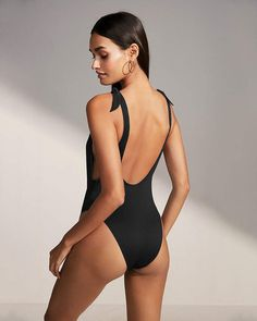 b7c7ead51a Express Ribbed Ultra High Leg One-Piece Swimsuit
