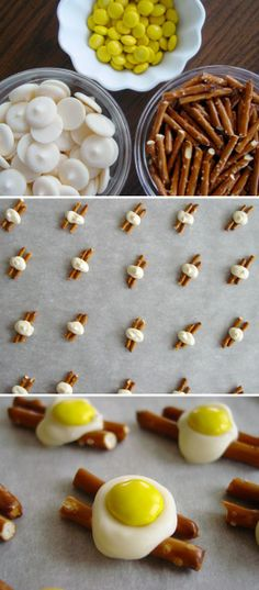 """Bacon & Egg"" Candy Treats.... add a few more pretzels, dark choc., coconut and use robin eggs candy and you have a nest for easter... just sayin'"