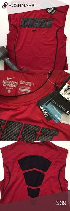 """Nike BEAST Pro Combat Compression Shirt Dress Sz L Men's. It's Compression so it's supposed to be a snug fit. will fit women's medium large or even xl . Brand New Without Tag  I don't trade or use PayPal please don't ask. All sales are final. All offers need to be made with the offer feature. Low ball offers will result in being blocked. Happy Poshmarking! For Reference: I'm 5'2"""" 34DDD Nike Tops Muscle Tees"""