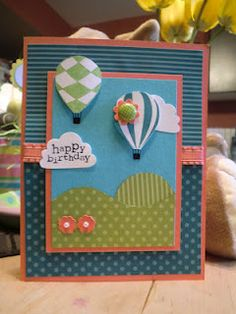 Simple birthday card I made for my stamp club!  www.fortheheartofstamping.blogspot.com for more!