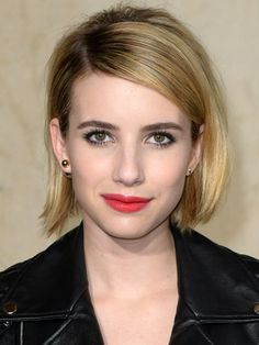 If you want to go short but aren't ready to take the pixie plunge, Emma's blunt bob is the cut you're looking for. To keep it from looking too cutesy, wear it with a serious side part!