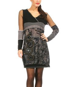 L33 by Virginie&Moi Black & Anthracite Abstract V-Neck Dress   zulily