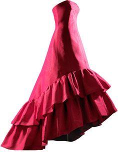 NOCHE  Vestido de noche en gros de Nápoles de seda de color fucsia, decorado con efecto moaré  1963 Perteneció a doña Sonsoles Díez de Rivera y de Icaza.