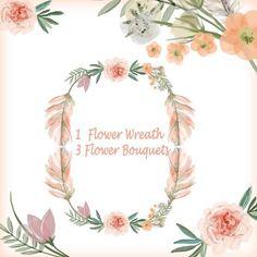 $5.5 Watercolor flower wreathes , flower bouquet, Floral Frame PNG, wedding bouquet, arrangement, bouquet, digital paper, green flowers, bridal shower, for blog banner