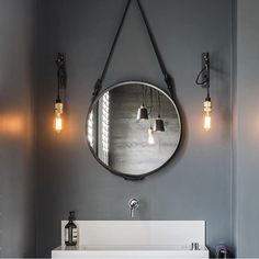 The Adnet circulaire mirror is perfectly suited even for the smaller bathrooms as it adds depth, reflect light, expand horizons and add a magical allure. Photo by @casabotelho #gubi #gubiofficial #gubistore #adnetcirculairemirror #adnetmirror #jaquesadnet