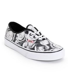 1bb02d59d84b Step into a feminine and timeless look with the Vans Authentic Digi Roses Black  and White shoe for girls. The digi rose print canvas upper is constructed  on ...