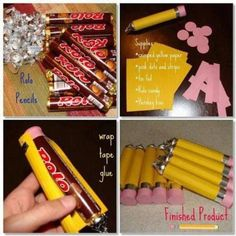 This is so cute! pencils with rolos and Hersey kisses