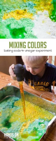 Any baking soda and vinegar experiment I've ever done with the kids has always been a success. Adding color to the experiment makes it that much more fun! via @handsonaswegrow
