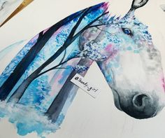 flavoredtape: Featuring The Amazing: @scandy_girl... flavoredtape:  Featuring The Amazing: @scandy_girl  This is how far I got still a lot to do but wont have the time to finish it today. Hope you guys like it so far! #horse #watercolor Follow @scandy_girl on Instagram for more awesomeness like this!
