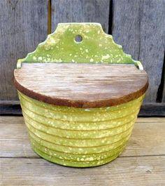 Vintage Antique Primitive Green Spatter Pottery Hanging Salt Spice Box Farm Chic | eBay