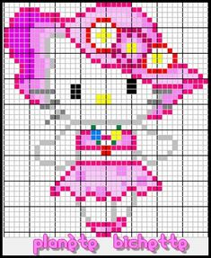 Hello Kitty with hat perler bead pattern Unicorn Cross Stitch Pattern, Cute Cross Stitch, Cross Stitch Charts, Cross Stitch Designs, Cross Stitch Patterns, Crochet Hello Kitty, Chat Hello Kitty, Cross Stitching, Cross Stitch Embroidery