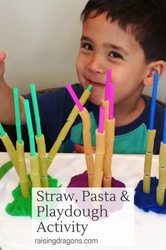 Straws, Pasta and Playdough Activity * ages ⋆ Raising Dragons Straws, Pasta and Playdough fine motor activity is perfect for kids ages and is a fun way to improve fine motor skills, counting and color recognition. Fine Motor Activities For Kids, Eyfs Activities, Playdough Activities, Motor Skills Activities, Preschool Learning Activities, Infant Activities, Nursery Class Activities, Activities With Toddlers, Fine Motor Activity