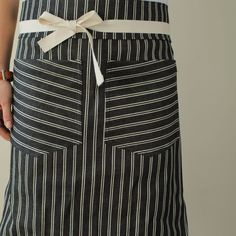Bistro Apron - American Striped Denim, 2 lap pockets, 100% cotton straps.