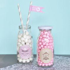 Baby Shower Favors-Glass Milk Bottles-Vintage Favors-Baby Shower Supplies-Party Favor Ideas (set of 24)