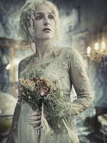 Gillian Anderson cuts a ghostly figure as Miss Havisham in the BBC's Christmas adaptation of Great Expectations