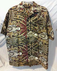 Taboo Skull Medium Mens Button Down Shirt Halloween Rock Star Costume Made USA #Taboo