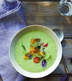 Chilled Cucumber-Buttermilk Soup with Tomato Relish