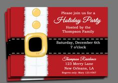 Christmas Party Invitation Printable  Santa by ThatPartyChick, $15.00