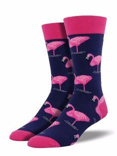 be6069a4f Details about Pink Flamingo Crew Socks Las Vegas Bird Animal Hotel Shoe  Size 6-12