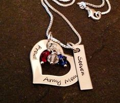 Hand stamps personalized army mom marine corps mom navy mom Air Force mom girlfriend wife necklace on Etsy, $22.00