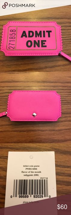 Kate Spade ticket coin purse Kate Spade ticket coin purse tulippink NWT. Hot pink and so adorable! 💕 kate spade Accessories