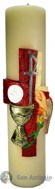 Cirio Pascual: Hermosos cirio pascual en cera de abejas decorado a mano con simbología litúrgica.