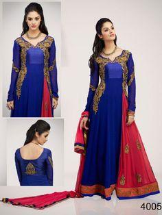 Blue with Pink Dupatta Anarkali Suit