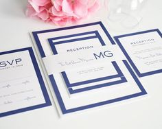 Modern Wedding Invitation Blue Wedding par ShineInvitations sur Etsy