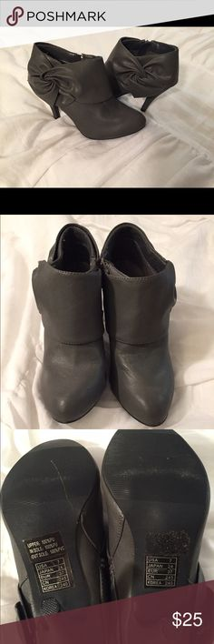 Adorable gray heeled booties only worn once sz 7 Accepting offers!!!  Adorable gray heeled booties! Only worn once size 7 Shoes Heeled Boots
