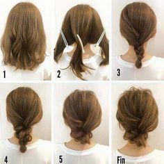 Fashionable Braid Hairstyle for Shoulder Length Hair - Hair Inspiration - Mittellanges Haar Hair Tutorials For Medium Hair, Up Dos For Medium Hair, Buns For Short Hair, Short Hair Updo Easy, Short Hair Styles Easy, Hairstyle For Medium Length Hair, Chignon Updo Short Hair, Messy Bun Medium Hair, Simple Hairstyles For Medium Hair