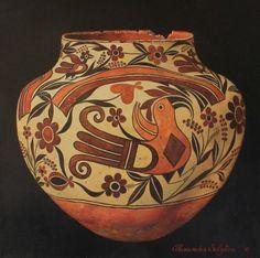 """""""Acoma Pot"""" #3474 Mountain Trails, Southwest Art, Jackson Hole, Wyoming, Art Gallery, Vase, Artist, Decor, Atelier"""