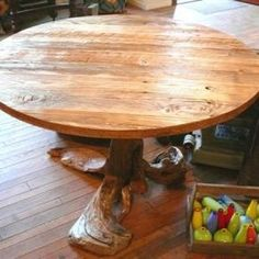 Driftwood / Reclaimed Wood Rustic Round dining table by Majestic Rustic Driftwood / Recycled Wood Furniture and Hobbit Creations