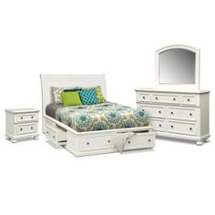 Hanover White 6 Pc. Queen Storage Bedroom Package | American Signature Furniture