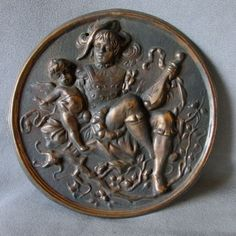 Lovely Antique Victorian Plaque of Cherub Angel and Musician
