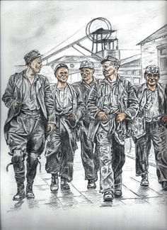 End of Shift for five miners at Ashington Colliery