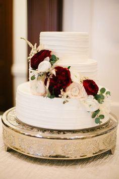 Pinterest: alex_ramey. Wedding cake with flowers. Marsala and blush flowers.: