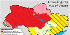 """As you can see, the west of Ukraine (including the capital of Kiev) is all predominantly Ukrainian-speaking. The entire eastern half of the country is either predominantly Russian-speaking or has significant Russian minorities. If you look at the Crimean peninsula (the brown area to the south), there is an ethnic Russian majority."""
