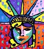 Always wanted to try this project - maybe an american theme display on year?    Peter Max's vibrant colors and expressionistic style were first seen in the sixties and became part of American culture. Besides being an evironmentalist and defender of human rights, he is a patriot. Since 1976 he has painted the Statue of Liberty every July 4th