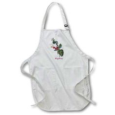 3dRose Bright Red Raspberries on the Vine Botanical Print, Full Length Apron, 22 by 30-inch, White, With Pockets